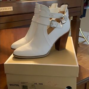 Michael Kors white leather booties